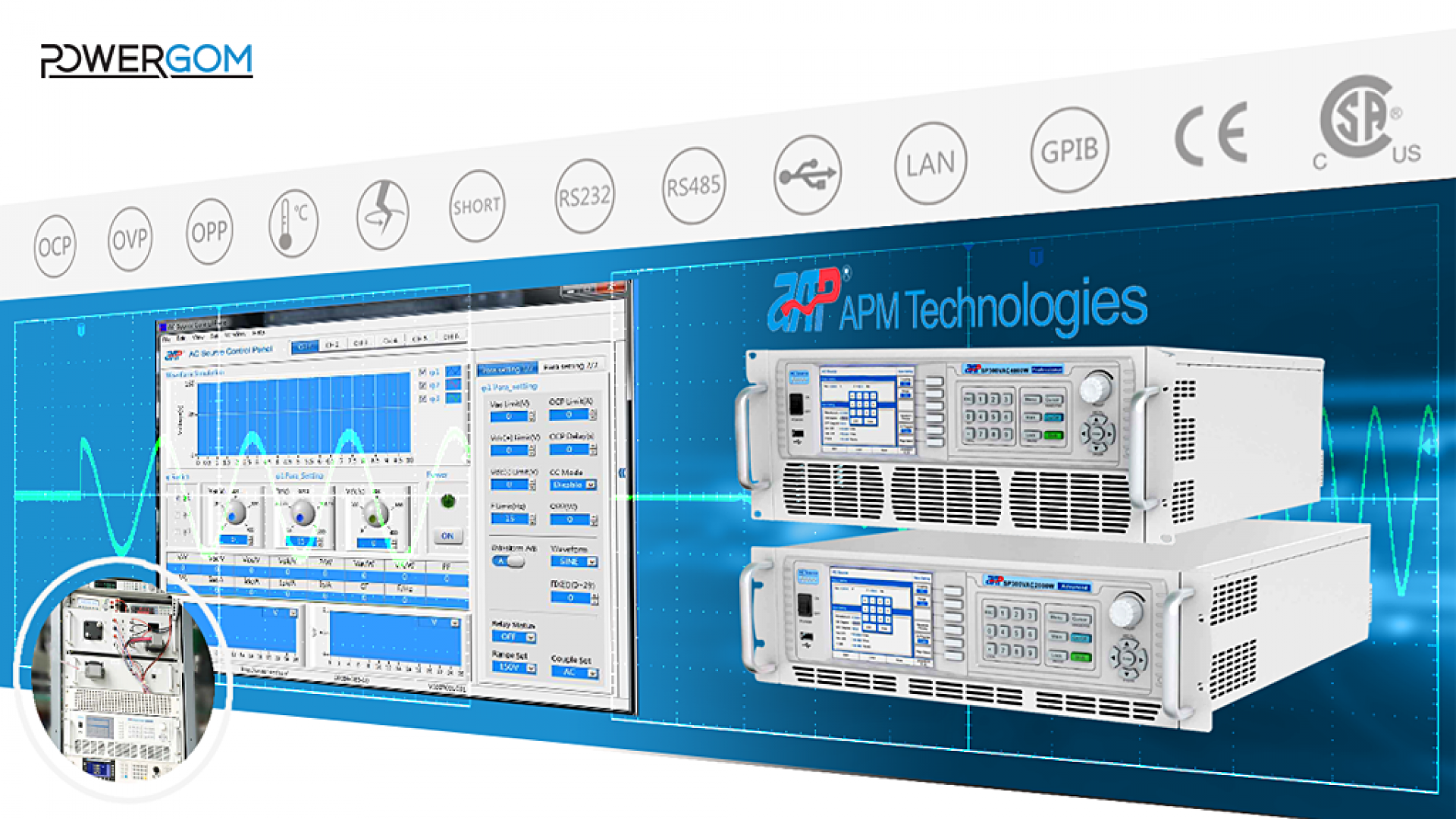 Váltakozó áramú programozható tápegységek az APM kínálatából